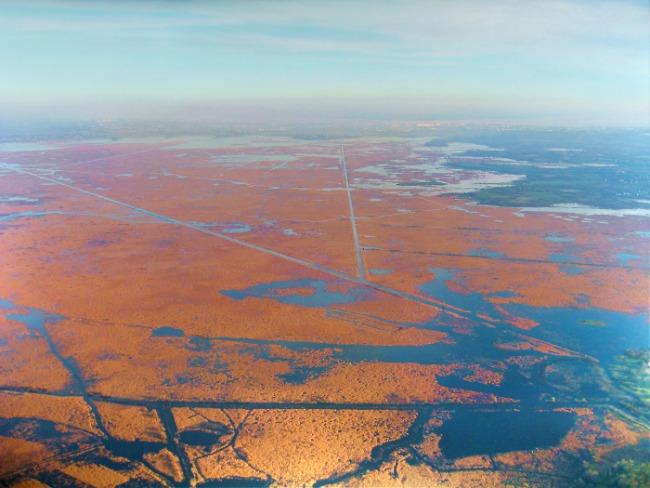 vue aerienne générale de La Grande Brière