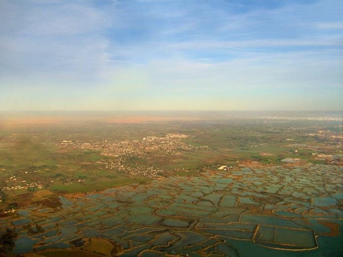 Vue aerienne des Marais salants vers Guérande