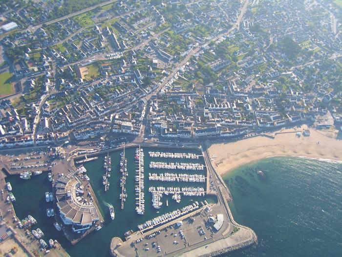 photo aerienne du port et de Bellevue à La Turballe